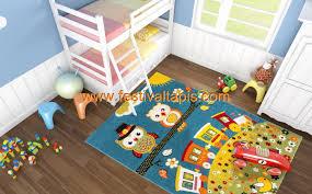 tapis de chambre tapis pour chambre enfant blue hibou pas cher