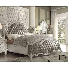 California King Sleigh Bed 1perfectchoice Versailles Vintage Gray Pu Bone White Cal King
