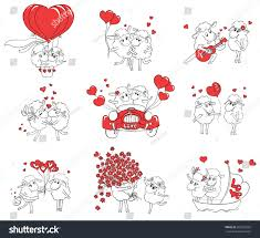 couple love set funny pictures happy stock vector 203392003