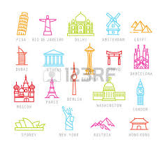 Washington travel icons images City icons in color flat style with names pisa rio delhi jpg