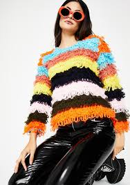 rainbow stripe shaggy sweater dolls kill