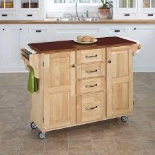 Crosley Kitchen Island Crosley White Kitchen Cart With Natural Wood Top Kf30051wh The