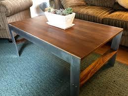 Aluminum Coffee Table Walnut Coffee Table Aluminum Side View Slarve Design