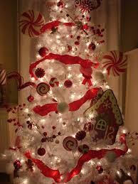 white and red christmas decoration presenting white christmas tree