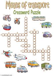 means of transport crossword puzzle interactive worksheet