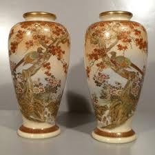 Mirror Vases Satsuma Mirror Image Vases Showa Period From Christophers On