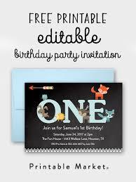free editable chalkboard woodland fox friends 1st birthday