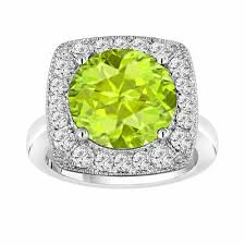 peridot engagement rings peridot diamond engagement ring 6 04 carat 14k white gold unique