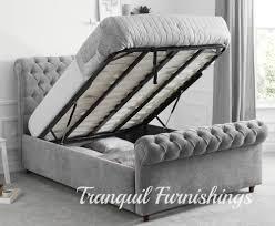 King Ottoman Grey Storage Bed Frames Ebay