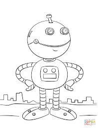 cute cartoon robot coloring page free printable coloring pages