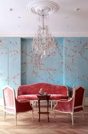 Wohnzimmer Konstanz Halloween Exklusive Luxus Tapete Blumen Motiv Rot Auf Hell Blau Auf Seide