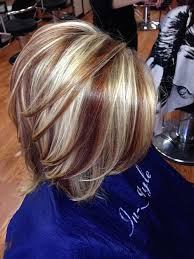 bob hair with high lights and lowlights two toned short haircuts featuring blonde and brown hair colors