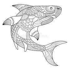 shark coloring book adults vector stock vector image 80183622