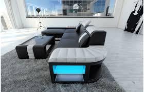 sofa l form designersofa bellagio led l form in schwarz weiß exklusiv bei