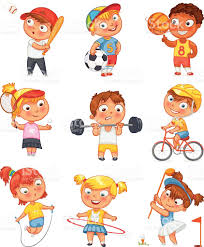sports and fitness funny cartoon character stock vector art
