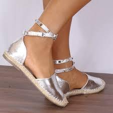 shoe closet ladies fizz1 silver metallic wrap round gold studded