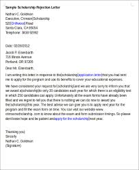 8 scholarship rejection letter free sample example format