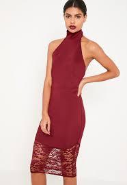 burgundy lace fishtail halterneck midi dress missguided