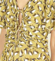 gucci sailboat print crossover front dress in green lyst