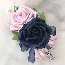 navy blue corsage buttonhole corsage navy blue baby pink roses artificial