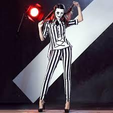 Black White Striped Halloween Costume Weird Joker Costume Magic Tricks Magician Costume Black White