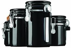 black canister sets for kitchen amazon com anchor hocking 4 black ceramic canister set with