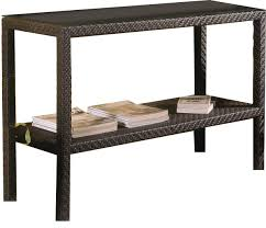 dark brown outdoor wicker console table with storage and black