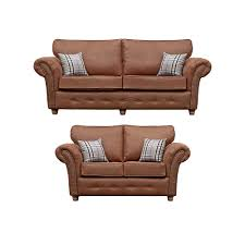 oakley country style tan sofa collection in leather like fabric