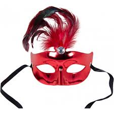 metallic plastic eye mask with feathers red 75 0475rd