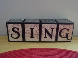 custom wood letter blocks sing music home decor vintage sheet