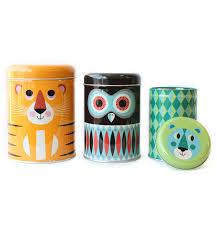 Owl Kitchen Canisters Animal Tin Canister Set U2013 Lagom Design
