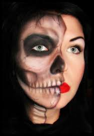 Skeleton Face Makeup Halloween by Half Face Skeleton Other Side Normal Costume Fun Pinterest
