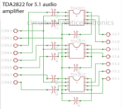 tda2822 made for 5 1 audio amplifier system electronic circuit