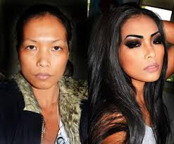make up can do wonders just do makeup and bee like hollywood star you dont need to do weight loss or excercise its so easy now a days pordinary to