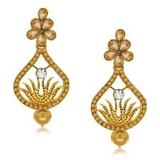 earing design buy spargz design gold earring suspended with pearl drop aier