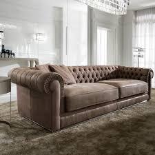 High End Italian Nubuck Leather Button Upholstered Sofa - Chelsea leather sofa