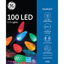 ge 100ct staybright c5 led light string set multi