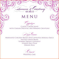 wedding menu templates menu templates for weddings write happy ending