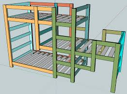 Build A Bunk Bed With Trundle by Ana White Triple Bunk Staggered Beds Diy Projects