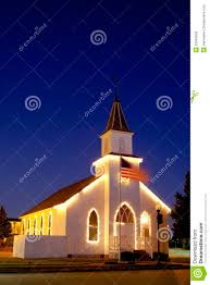 Church Flags Typical American Church With Flag And Blue Sky Stock Photo Image