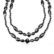 black bead necklace images Assorted geometric beads black onyx necklace jpg