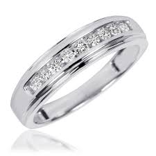 white gold wedding band sets 3 8 carat t w diamond his and hers wedding band set 10k white gold
