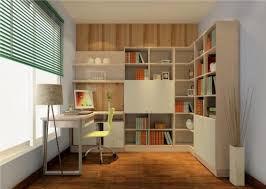 study room interior design with green curtains 3d house