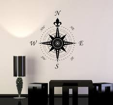 wall decal compass home decoration geography travel vinyl