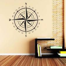 Wallpaper Decal Theme Compass Wall Decal Compass Rose Nautical Decal Beach Theme Wall