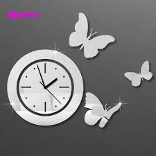 Clock For Bathroom Circles With Butterfly Wall Clocks 3d Mirror Wall Clock Home Decor