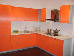 New Kitchen Design by Orange Color Kitchen Design