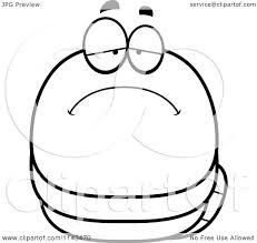 cartoon clipart of a black and white chubby sad worm vector