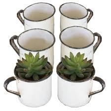 set of six antique style black and white enamel succulent planter