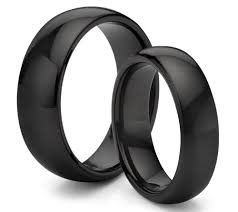black wedding band his s 8mm 6mm tungsten carbide classic polished black